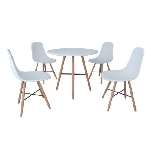 White Dining Set 1 Round Table with 4 Armless Chairs