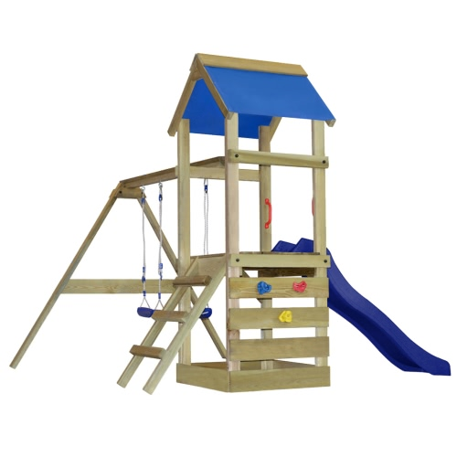 Деревянная площадка с лестницей, слайдов и качелей S