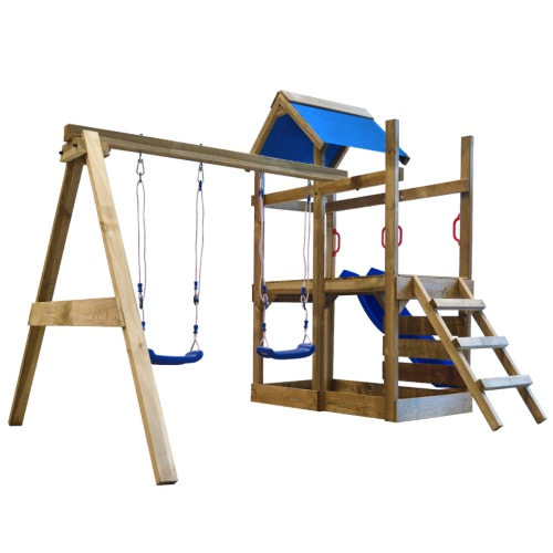 Wooden Playset with Ladder, Slide and Swings M