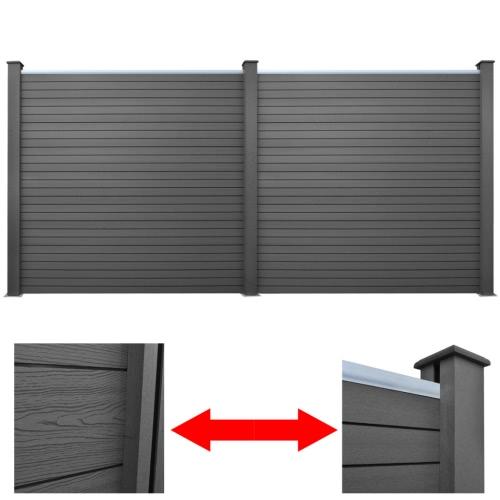 2 PC-Platz WPC Gartenzaun Panel-Grau 392 cm