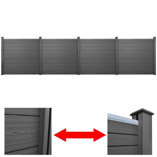 4 pcs Square WPC Garden Fence Panel Grey 774 cm