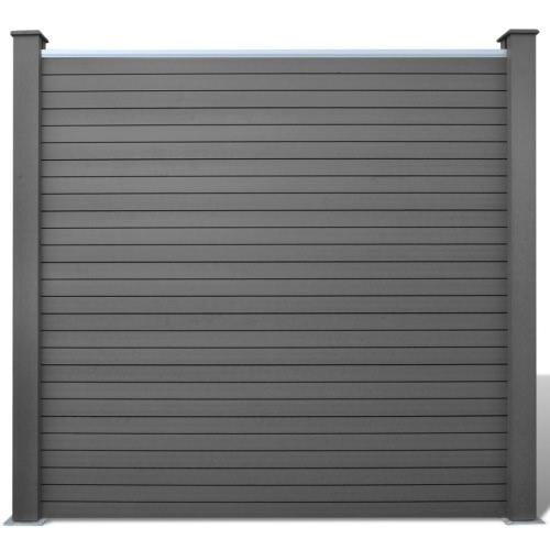 Grey WPC Fence Set 3 Square + 1 Slanted 679 cm