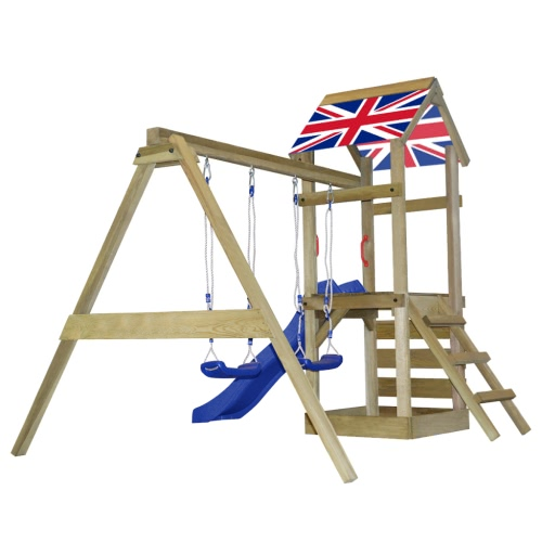 Wooden Playset with Ladder, Slide and Swings Union Jack S