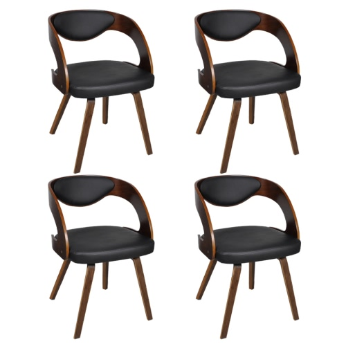 Set of 4 Dining Chairs with Padded Bentwood Backrest