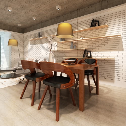 Conjunto de 4 sillas de comedor de madera curvada con el acolchado del respaldo