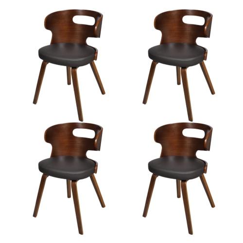Conjunto de 4 sillas de comedor con Recorte de madera curvada del respaldo