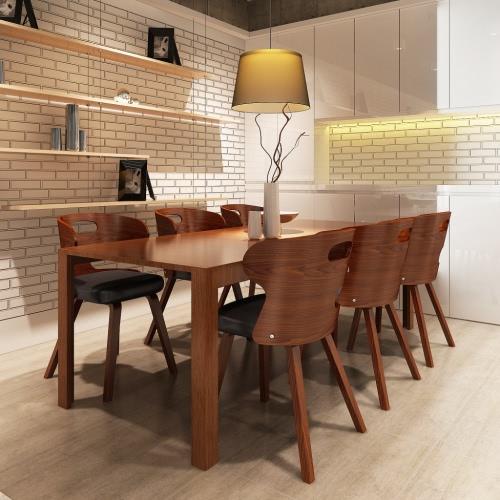 Set von 6 Esszimmerstühle mit Cut-out Bentwood Rücken