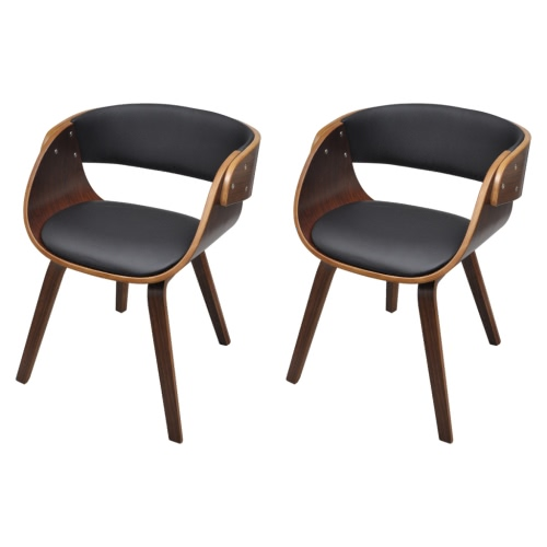 Set of 2 Dining Chair with Padded Bentwood Seat