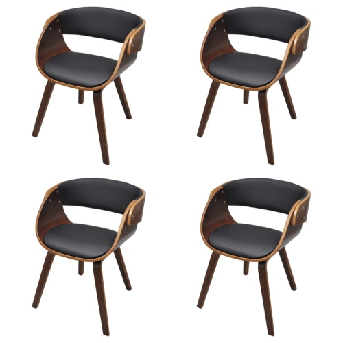 Set of 4 Dining Chair with Padded Bentwood Seat