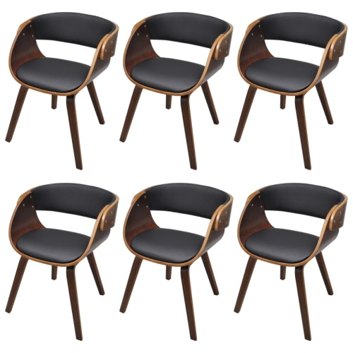 Set of 6 Dining Chair with Padded Bentwood Seat