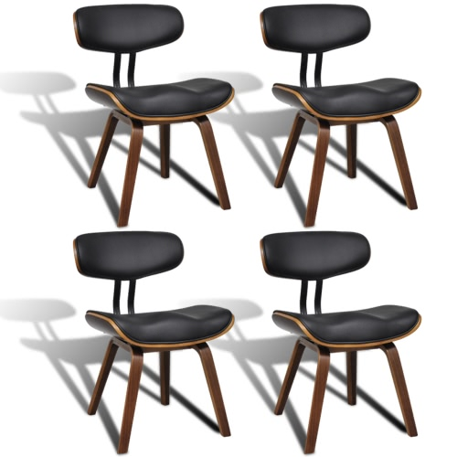 Set of 4 Bentwood & Artificial Leather Dining Chairs with Backrest