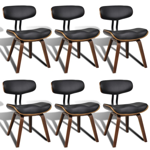 Set of 6 Bentwood & Artificial Leather Dining Chairs with Backrest