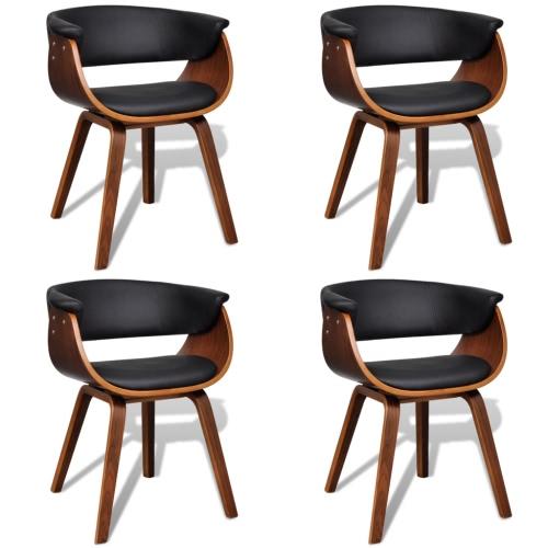 Conjunto de 4 cuero artificial cena la silla con respaldo