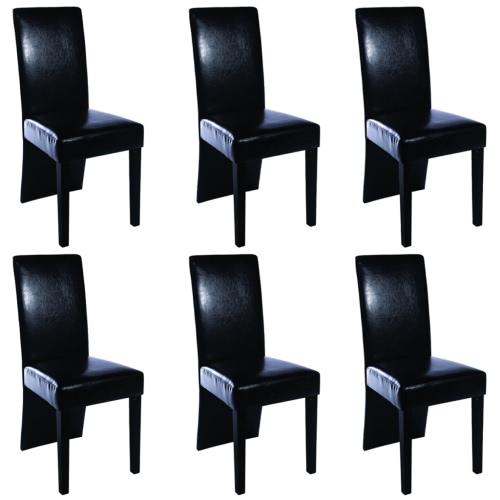 6 pièces en cuir artificiel Bois Noir Chaise