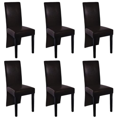 6 Stück Kunstleder Holz Brown Dining Chair
