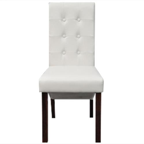 6 pièces en cuir artificiel en bois blanc Chaise