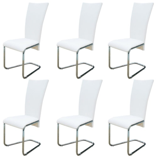 6 pcs Artificial Leather Iron White Dining Chair