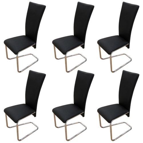 6 pcs Artificial Leather Iron Black Dining Chair