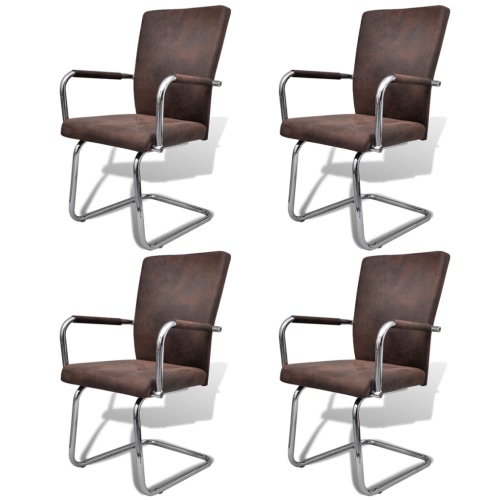 4 pièces en cuir artificiel Fer Brown Dining Chair