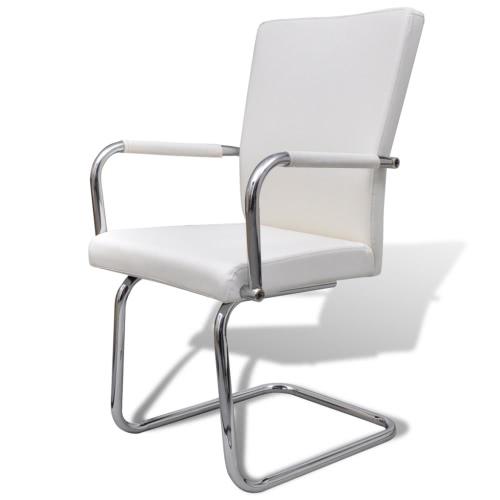 6 piezas de cuero artificial de la silla de comedor blanco del hierro