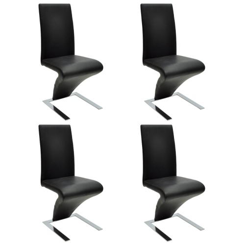 4 pezzi in pelle artificiale Forma di ferro nero Dining Chair Zigzag