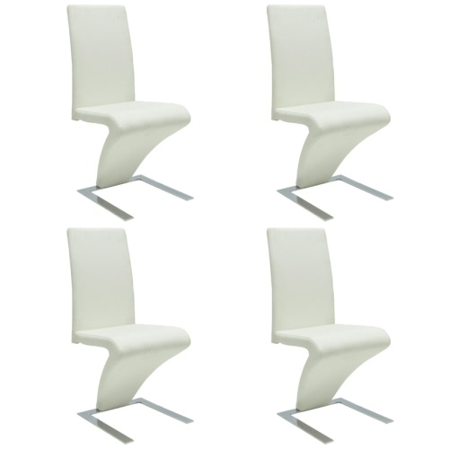 4 pcs Artificial Leather Iron White Dining Chair Zigzag Shape