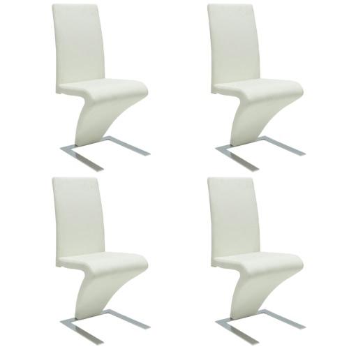 4 szt Sztuczna Skóra żelaza Biały Dining Chair zygzakowato