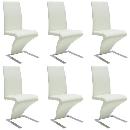 6 pcs Artificial Leather Iron White Dining Chair Zigzag Shape