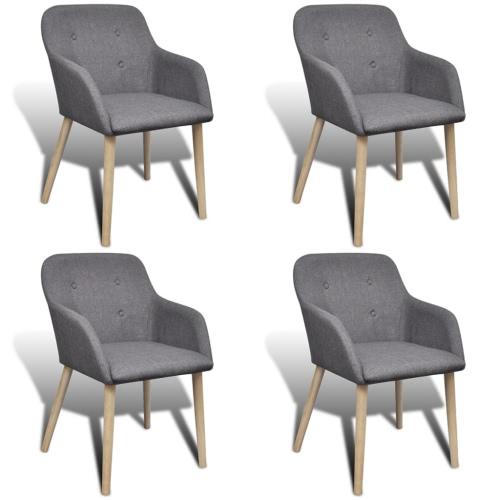 4 Stück Stoff Dining Stuhl mit Eiche Beine Set