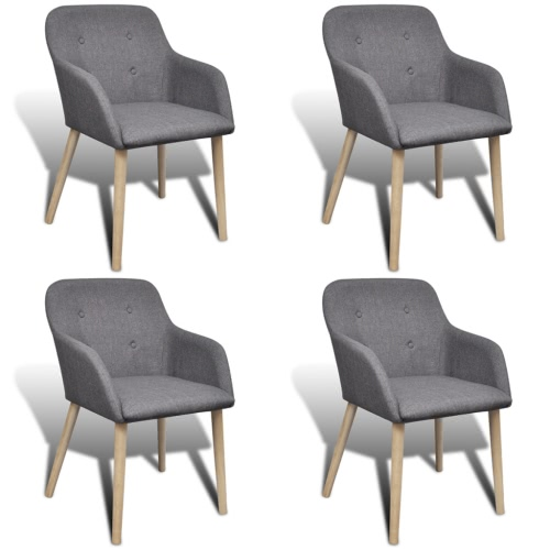 4 szt Materiał Dining Chair Set z nogami Oak