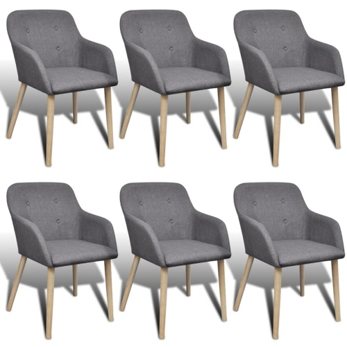 6 pcs Fabric Dining Chair Set with Oak Legs