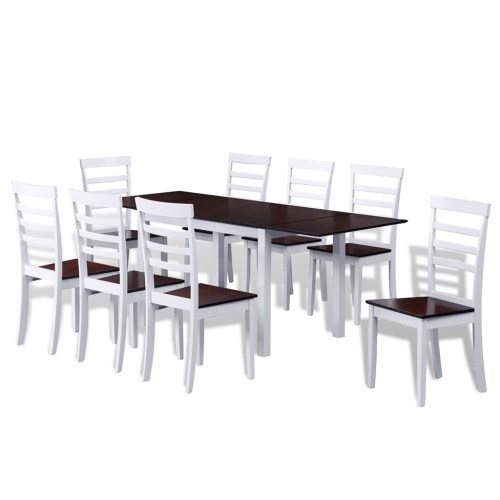 Brown White Solid Wood Extending Dining Table Set with 8 Chairs