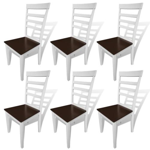 6 шт коричневый белый из массива дерева Стулья для столовой