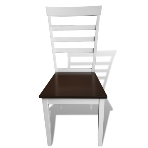 6 pcs Brown White Solid Wood Dining Chairs