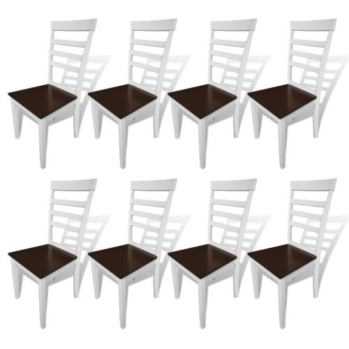 8 шт коричневый белый из массива дерева Стулья для столовой