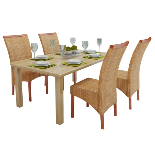 Set of 4 Handwoven Rattan Dining Chairs with Wooden