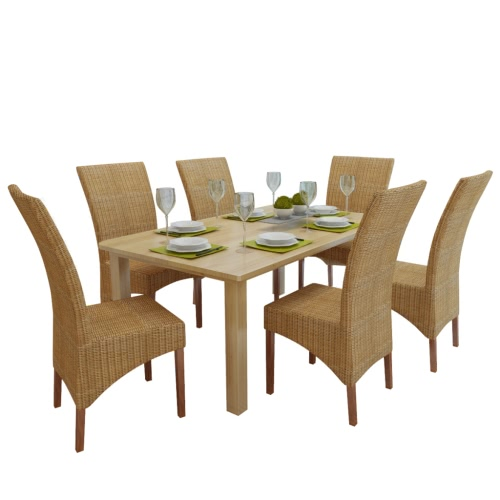 Set of 6 Handwoven Rattan Dining Chairs