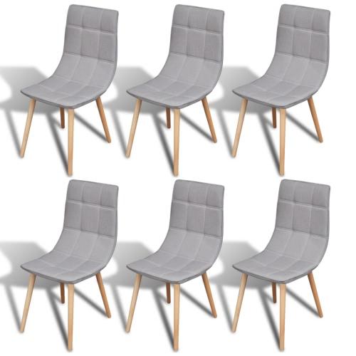 6 Stück Stoff Dining Chair Set Hellgrau