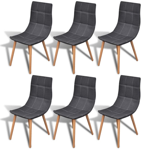 6 pcs Fabric Dining Chair Set Dark Grey