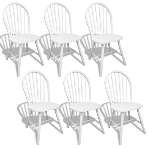 6 Wooden Dining Chairs Round White