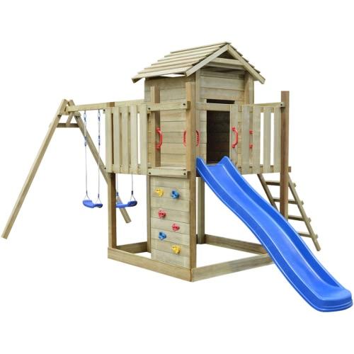 Деревянный Playset с лестницей, горкой и качелями 557 х 280 х 271 см