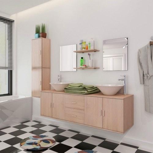neun Stück Badezimmermöbel und Becken Set Beige