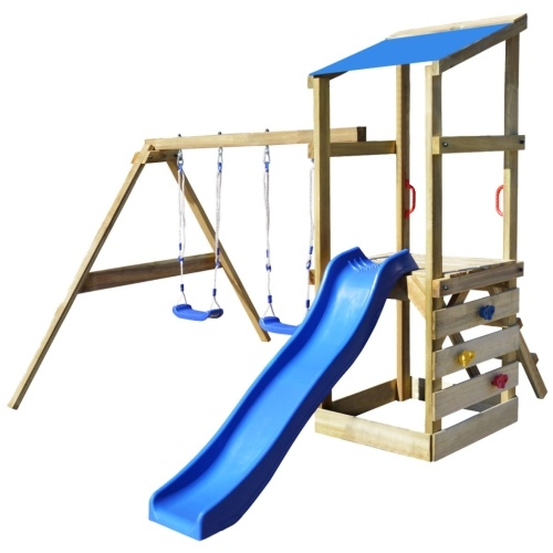 playhouse set with ladder, slide and swings 290x260x235 cm wood