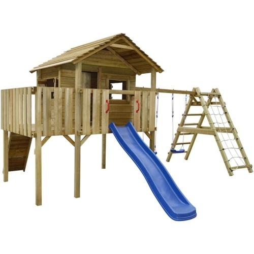 playhouse with climbing net, slide, swings 560x440x294 cm wood