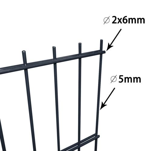 2d garden fence panels & posts 2008x830 mm 22 m grey