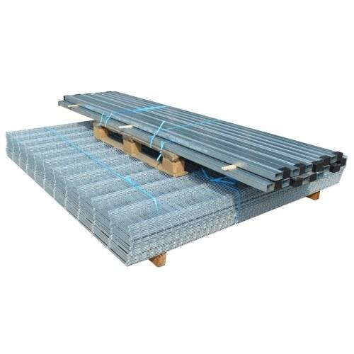 2d garden fence panels & posts 2008x1630 mm 20 m silver