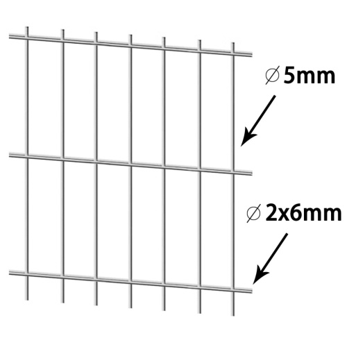 2D Сад забор Панели 2008x2030 мм 18 м Серебро