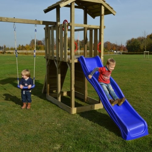wooden playset with ladder, slide and swings 419x350x266 cm