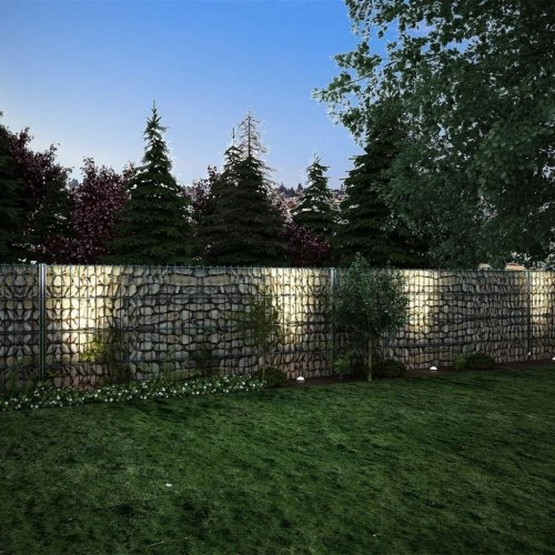 2d gabion fence set 2008x830 mm 10 m grey