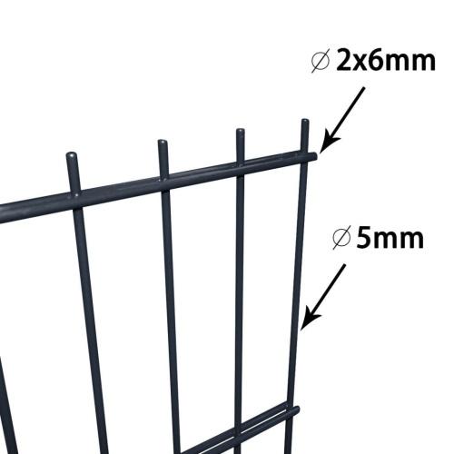 Set di recinzione Gabion 2D 2008x830 mm 12 m Grigio